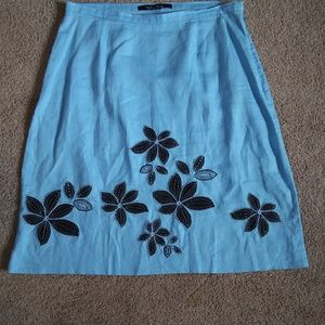 Madison Studio Blue Floral Skirt 100% Linen sz 10